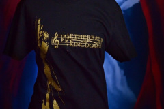 Subtle and elegant, the Ethereal Kingdoms 'Silent dance' t-shirt design. Vintage gold on jet black, the broken violin bow and falling feathers design beautifully frames the unique musical notation variant of our logo.