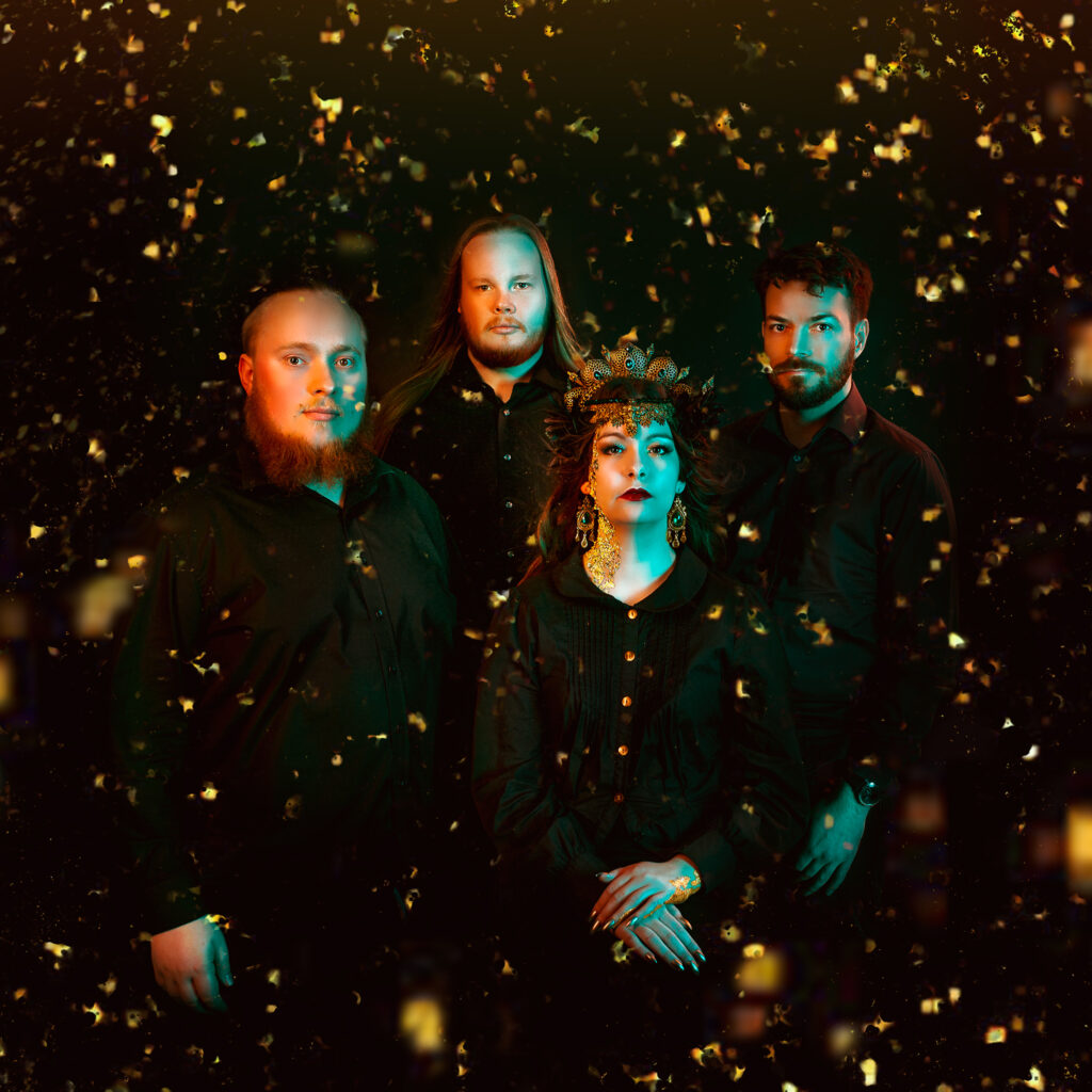 Ethereal Kingdoms band portrait 2019. Sofia Schmidt vocals and growl. Christian Rasmussen guitars. Jon Elmquist drums. Jakob Holm bass. Mathilde Maria Rønshof photo. Mighty Music 2019