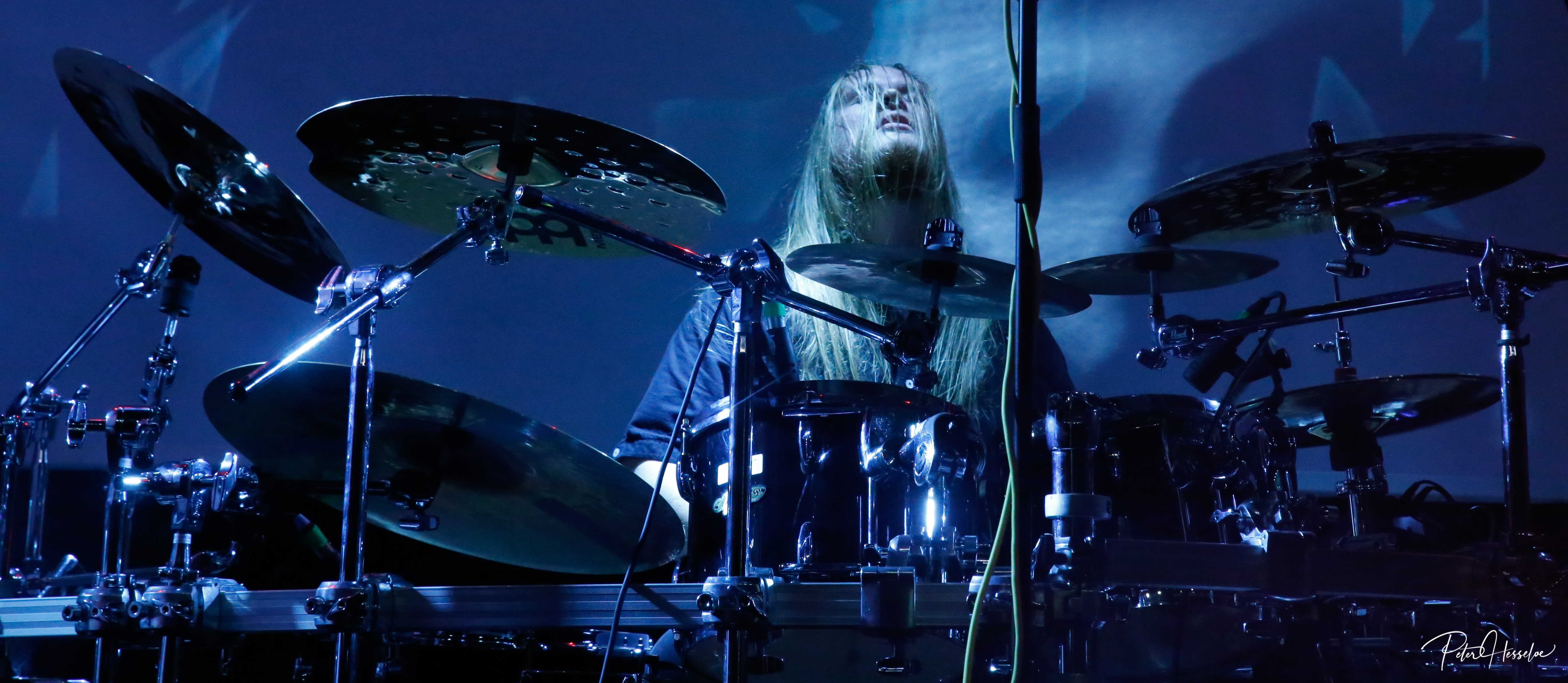 Ethereal Kingdoms live with Finntroll. Jon Elmquist drummer behind drumset.