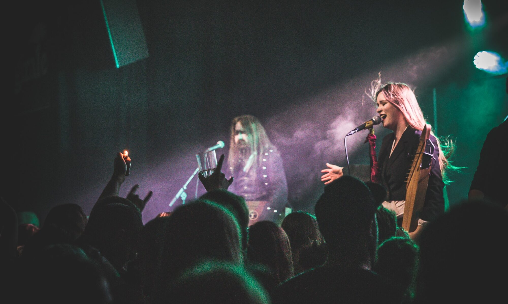 Ethereal Kingdoms live at Wintersun support show at Gimle. Sofia Schmidt performing My Kantele by Amorphis in front of crowd.