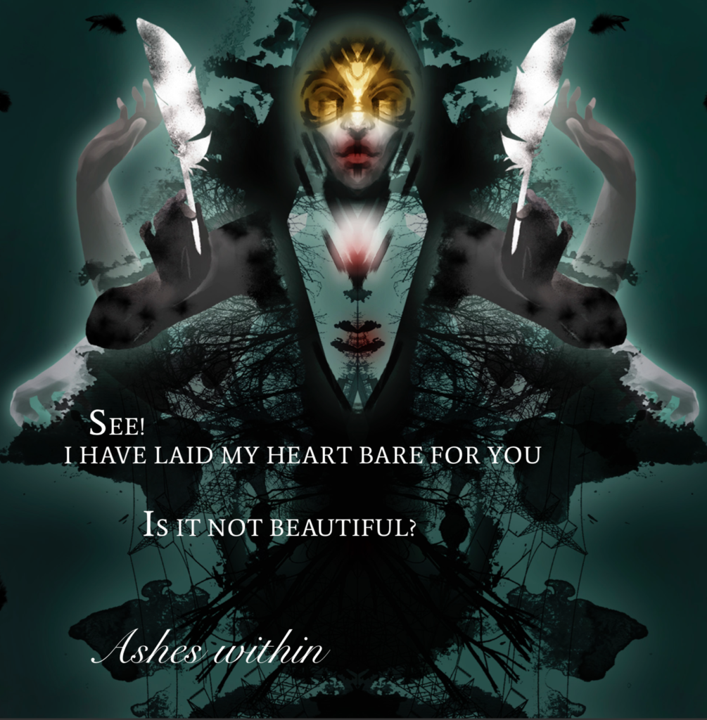 Ashes within by Ethereal Kingdoms Hollow Mirror. Symphonic metal. Mighty Music 2019. Artwork by Anna Holm Sørensen.