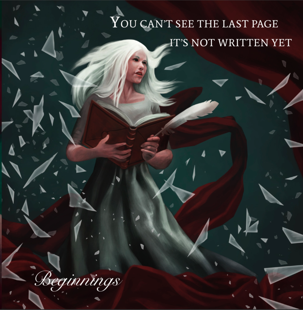 Beginnings by Ethereal Kingdoms Hollow Mirror. Symphonic metal. Mighty Music 2019. Artwork by Anna Holm Sørensen.