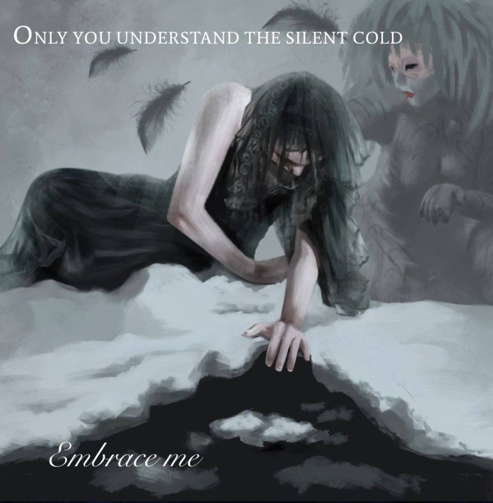 Embrace me by Ethereal Kingdoms Hollow Mirror. Symphonic metal. Mighty Music 2019. Artwork by Anna Holm Sørensen.