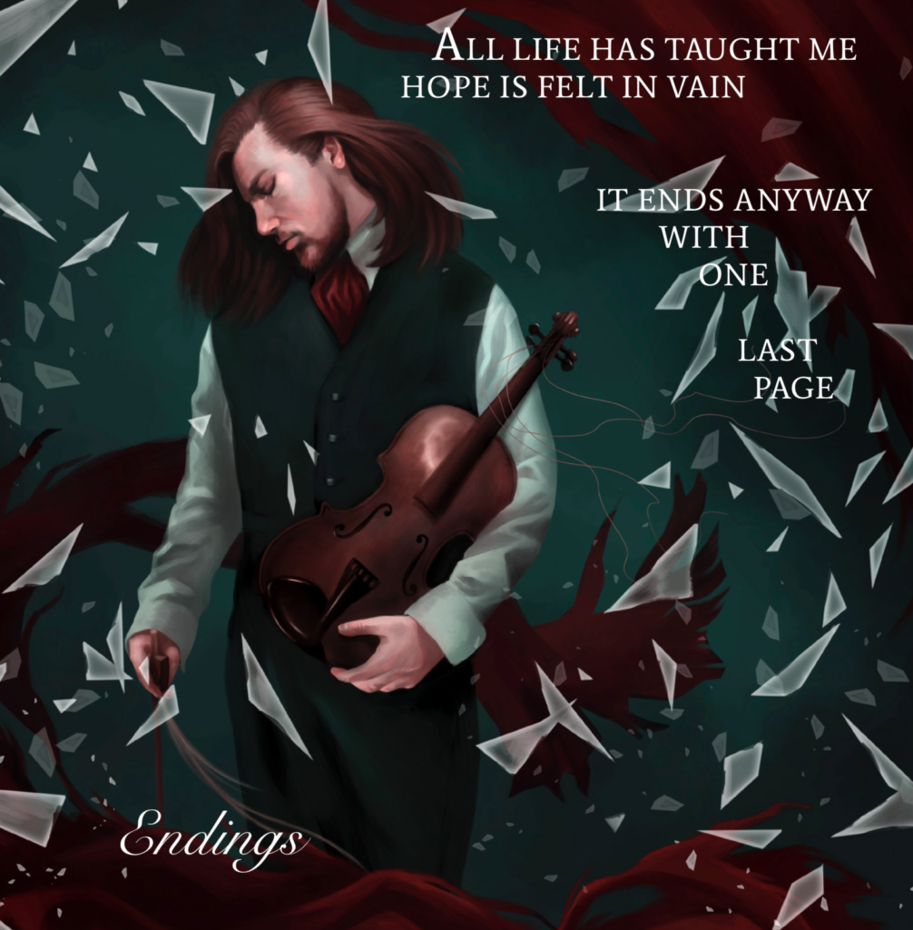 Endings by Ethereal Kingdoms Hollow Mirror. Symphonic metal. Mighty Music 2019. Artwork by Anna Holm Sørensen.