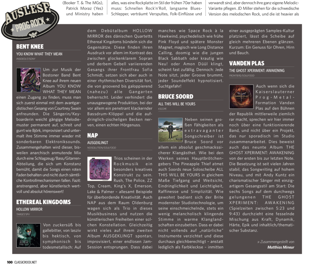 Ethereal Kingdoms Hollow Mirror review in Classic Rock Magazine by Matthias Mineur.