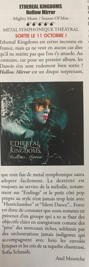 Ethereal Kingdoms Hollow Mirror review in Metallian. Symphonic metal mighty music 2019