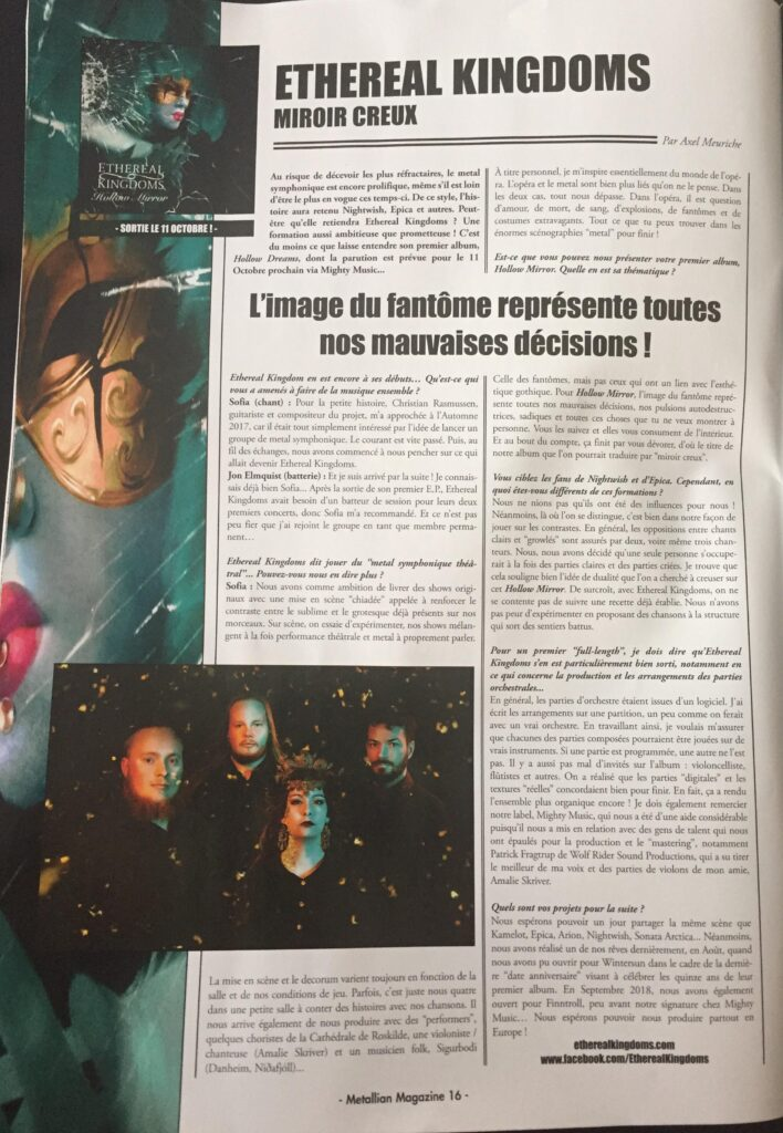 Ethereal Kingdoms Metallian interview sep/oc 2019. Full page magazine spread interview with symphonic metal band Ethereal Kingdoms. Mighty Music 2019.