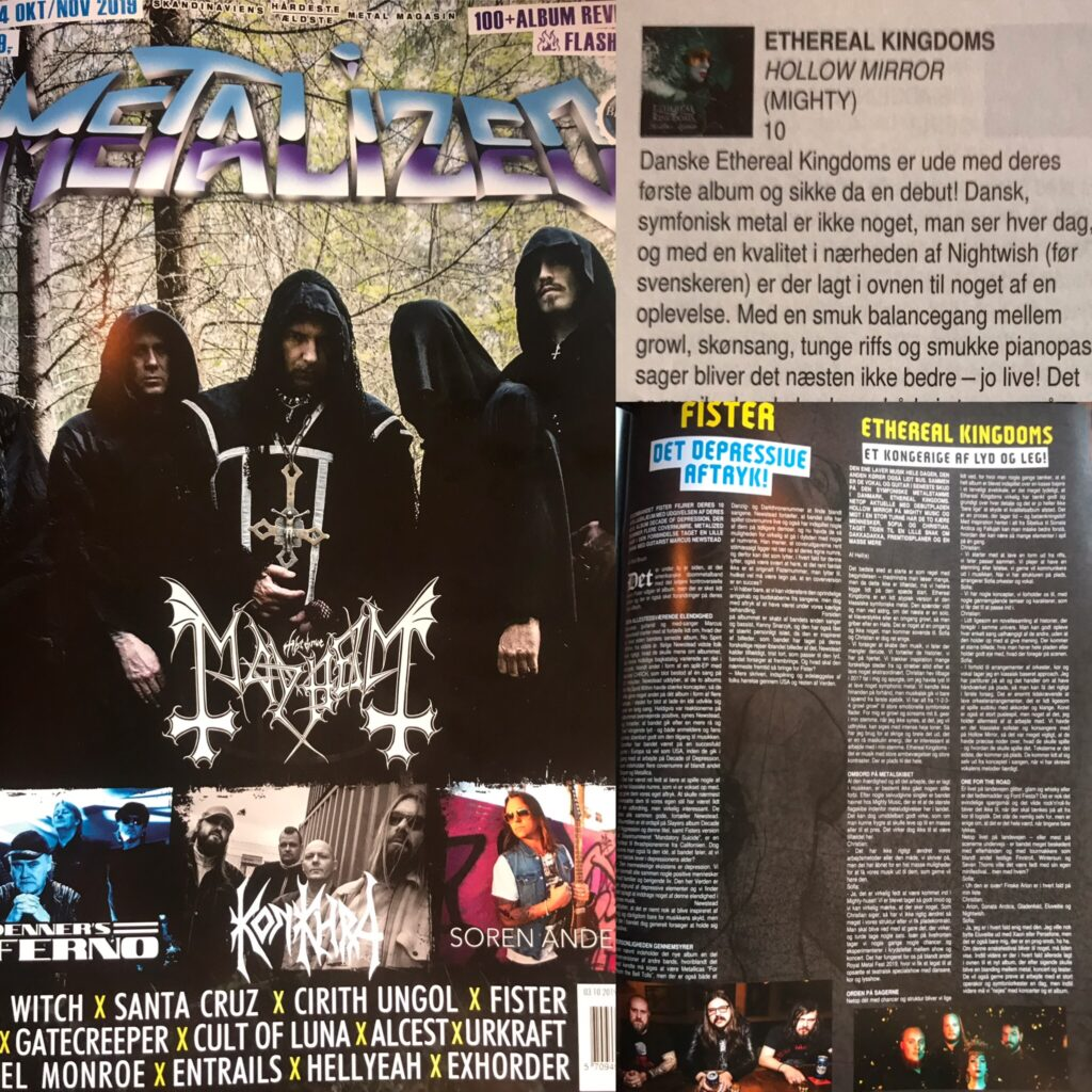 Ethereal Kingdoms Metalized oktober/november 2019. Front page conver of metallized magazine, hollow mirror album review 10 of 10 and interview feature article with Ethereal Kingdoms.