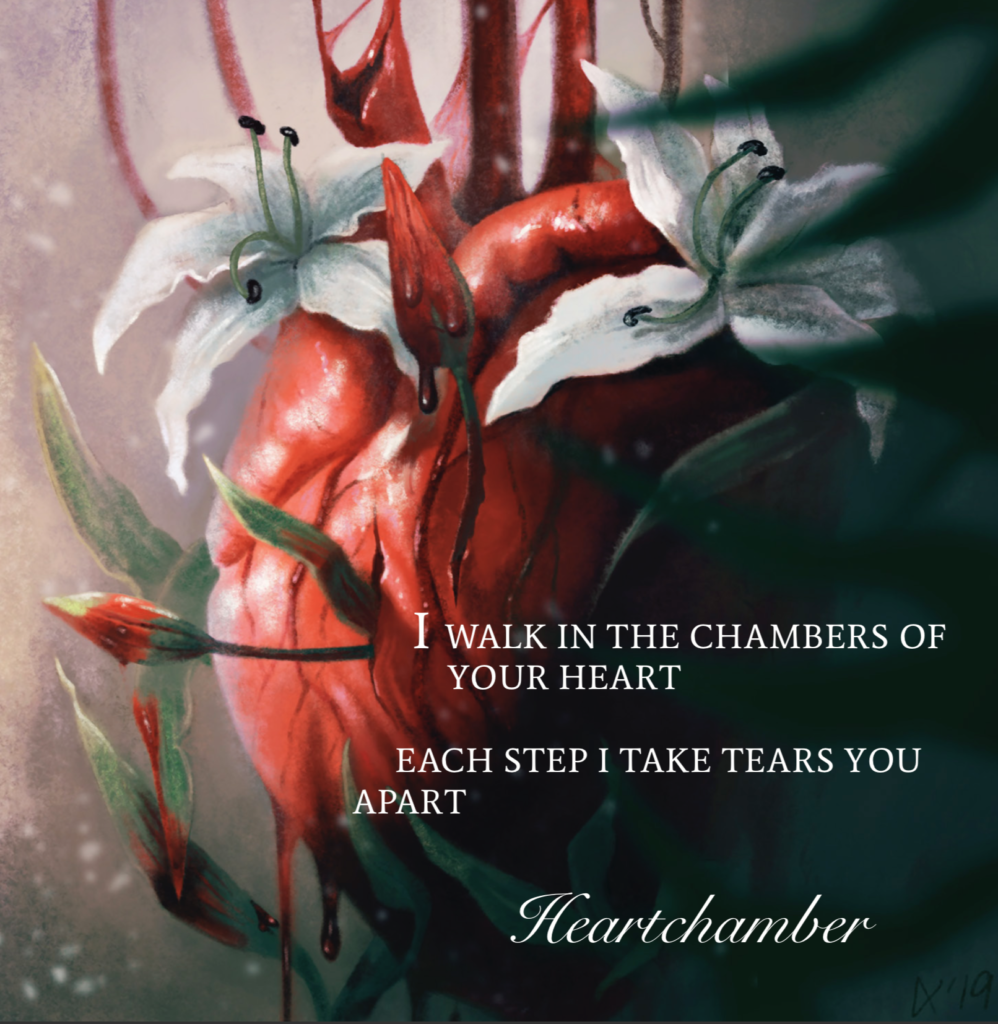 Heartchamber by Ethereal Kingdoms Hollow Mirror. Symphonic metal. Mighty Music 2019. Artwork by Anna Holm Sørensen.