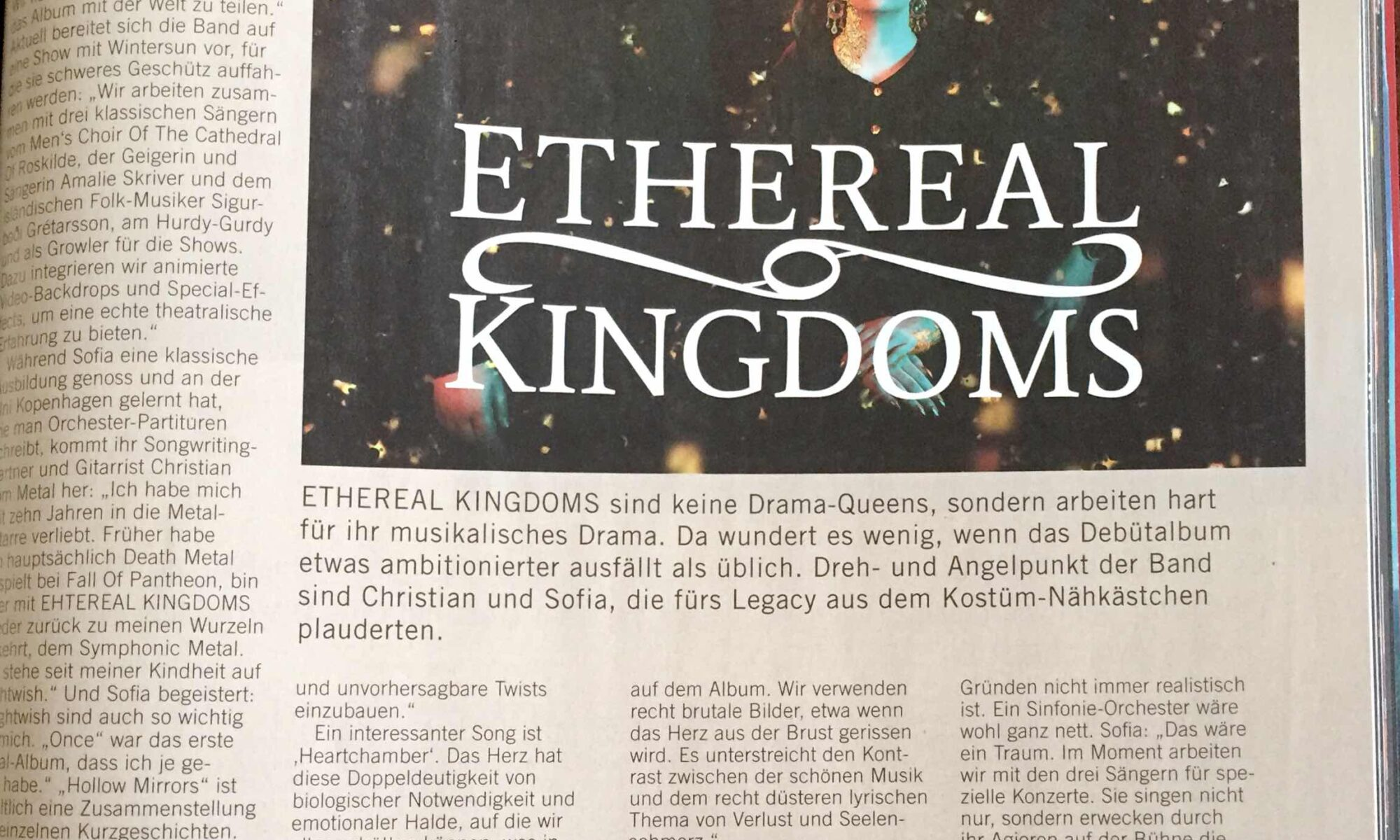 Ethereal Kingdoms Legacy Magazine germany interview