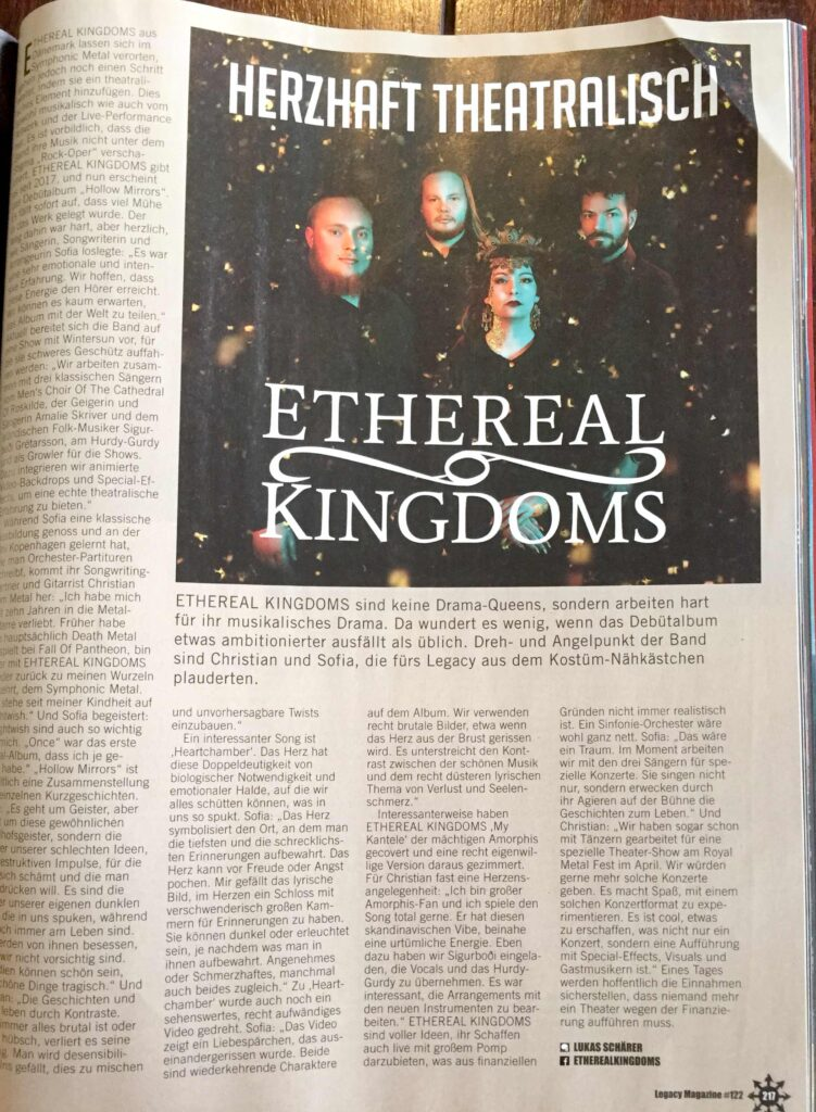 Legacy magazine interview with Ethereal Kingdoms about Hollow Mirror debut album.