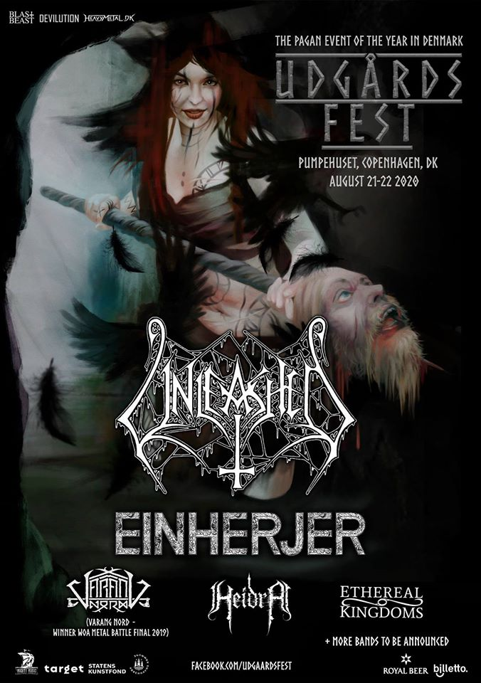 Udgårdsfest 2020 poster. Ethereal Kingdoms Unleashed Varang Nord Einherjer Heidra and more TBA.