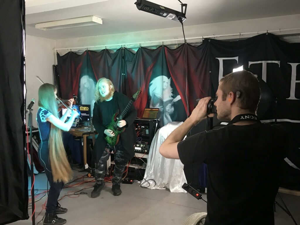 Ethereal Kingdoms beginnings full band live playthrough behind the scenes. Camera operator Alexander Petrovich Birk captured the fun and spontaneous energy of this evening in our rehearsal room